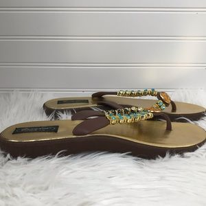 ** Grandco Gold Brown Jeweled Sandals Size 10